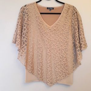 Ava & Grace Womens XL Tan Embroidered Lacey Blouse